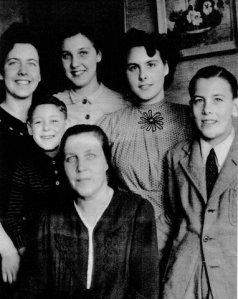 The Develing family in a 1945 photo. Mrs Catharina Develing with her children (l-r) Rie Develing, John Sanders, Catharina (Tina) Develing, Janie Develing, Willem Develing. Absent - Bab Develing