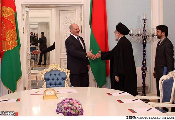 President Lukashenko greeting Iran's Judiciary Chief Ayatollah Mahmoud Hashemi Shahroudi