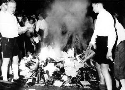 Austria 1938. Members of the Nazi Youth participate in burning books, Buecherverbrennung, in Salzburg, Austria. Photo wodumedia