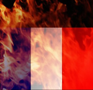 French flag burning