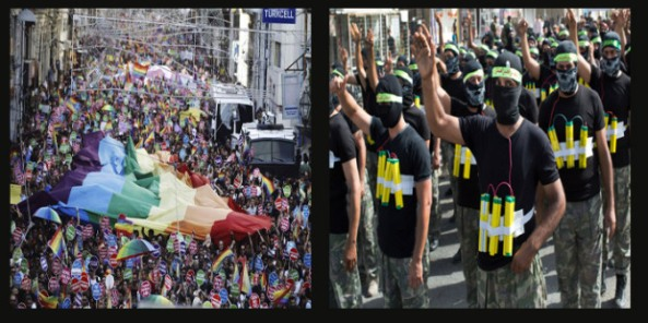 Two contrasting parades. (left) Istanbul saw its biggest ever Gay Pride Parade on the same day ISIS announced the establishment of their Caliphate. (right) Shia militias parading on the streets of Baghdad.
