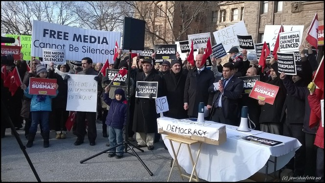 Turkish Canadians, at Queen's Park,   Legislative Assembly of Ontario to protest the breach of press freedom and rule of law in Turkey. (photo credit: jewishinfoNe.ws)
