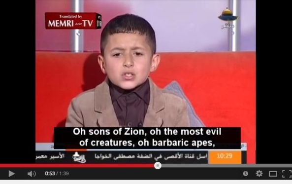 Young Boy Recites Song on Hamas TV: The Jews Are Barbaric Apes, the Most Evil of Creatures